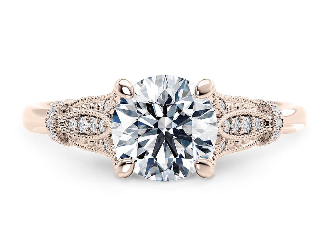 10.07 Round Jasmine Vintage Ring Diamond by 77 Diamonds