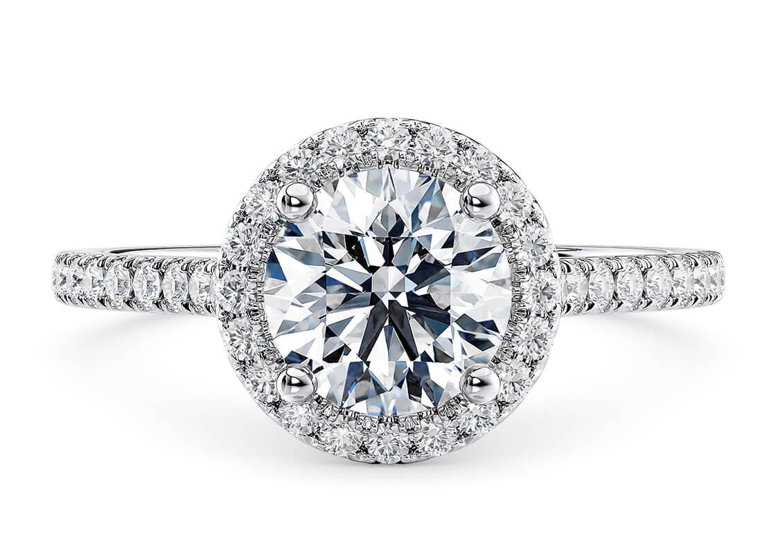 9.53 Carat Round Aphrodite Halo Diamond Ring by 77 Diamonds
