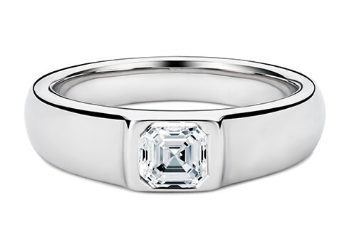 The band width is variable from 6.0-8.0mm, depending on your chosen centre diamond or gemstone.
