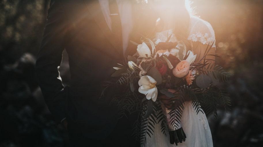 Bride & Groom with Flowers